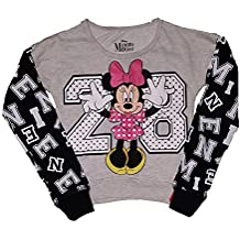 Disney Minnie Mouse Face with Flock Hearts Youth Girls Long Sleeve T Shirt