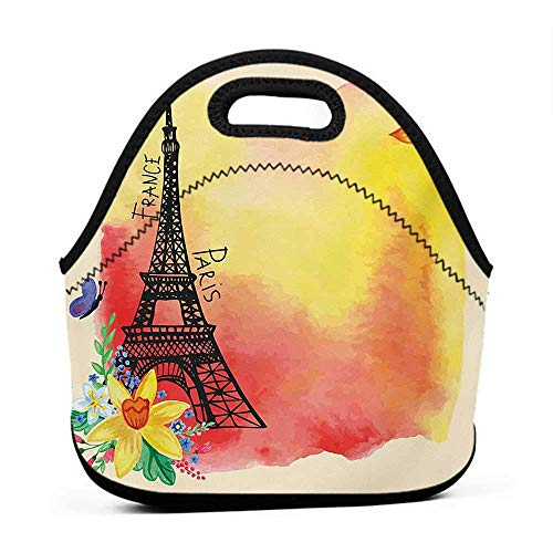 French Monogram - Large Size Reusable Lunch Handbag Paris,Romantic Floral Watercolor Image Eiffel with Butterfly Historical French Heritage Art,Multicolor,monogram lunch bag for kids