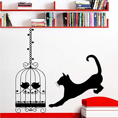 Pbldb Running Cat Silhouette Wall Decal with Birdcage