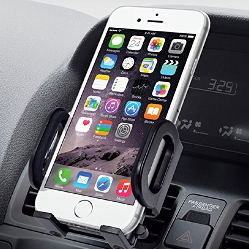 High Quality Flexible Air Vent for Apple 6S, 6, 6 Plus, 5S, 5C, 5 ; Samsung Galaxy S7, S6, S5, S4, Note 5, 4, Edge w/ Cushioned Car Mount Holder (use with or without case) - Retail Package (Verizon 4g Lte Smartphone Cases)