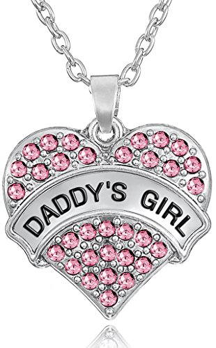 'DADDY'S GIRL' Engraved Heart Necklace for Daughters - Daughter Jewelry Gifts From Dad, Mom - Father's Day Presents for Girls, Teens, Women (Pastel Pink) (Pastel Flower Necklace)