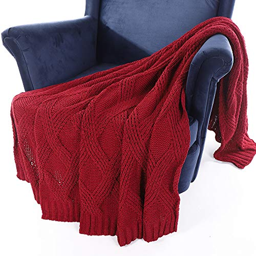 Battilo Diamond Cable Knit Chenille Throw Blanket for Couch Chair Sofa,Soft Cozy Home Decorative Blankets for All Seasons, 50 x 60 Inch - Chenille Knit Cable