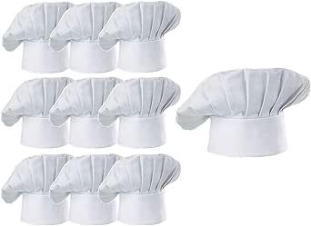 Hyzrz Chef Hat Set of 10 PCS Pack Adult Adjustable Elastic Baker Kitchen Cooking Chef Cap