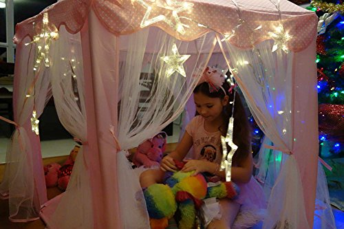 Kids Tent for Kids Playhouse with Lights - 12 Star LED Strip lights, 3pc Princess Dress Up Costume, Magical Letter, Children Castle Play Tent for Girls Kids Gifts Tent with Lights Pink Hexagon Large