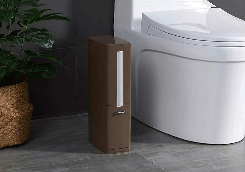 Caceesc Narrow Plastic Trash can Set Toilet Brush Toilet Trash can Garbage Trash bin Garbage Bag Dispenser (Color : Brown)