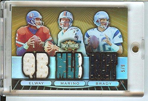 Football NFL 2007 Triple Threads Relic Combos Gold #22 Dan Marino/Tom Brady/John Elway MEM 5/9 Broncos by Triple Threads
