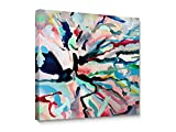 Niwo Art TM - Color Lines Abstract, Floral painting Artwork - Giclee Wall Art for Home Decor,Office or Lobby, Gallery Wrapped, Stretched, Framed Ready to Hang (20''x20''x3/4'')