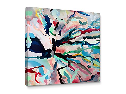 Niwo Art TM - Color Lines Abstract, Floral painting Artwork - Giclee Wall Art for Home Decor,Office or Lobby, Gallery Wrapped, Stretched, Framed Ready to Hang (20''x20''x3/4'') by Niwo Art