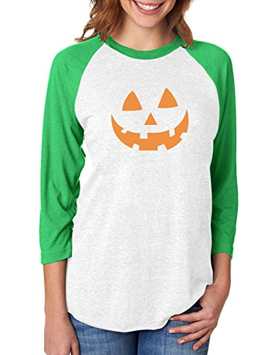 Pumpkin Face Jack O' Lantern Halloween 3/4 Women Sleeve Baseball Jersey Shirt Small Green/White ()