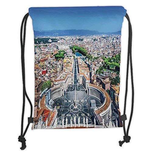 Custom Printed Drawstring Backpacks Bags,Cityscape,Saint Peters Square in Rome Italian Mediterranean Europe Citscape Urban Mod Print,Multi Soft Satin,5 Liter Capacity,Adjustable String Closure,Th