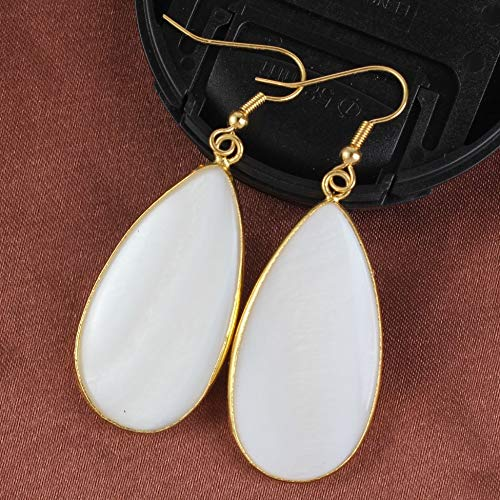 Light Yellow Gold Color Water White Abalone Shell Dangle Earrings for Women Trends Jewelry ()