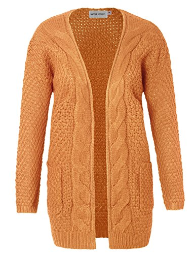 MAYSIX APPAREL Women Stylish Cotton Cable Knit Open Sweater Long Sleeve Chunky Cardigan W/Pocket Mustard SM