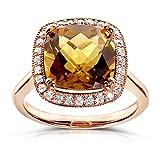 Cinnamon Quartz and Diamond Ring 4 1/5 Carat (ctw) In 10k Rose Gold