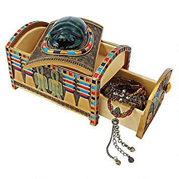 Design Toscano Egyptian D cor Trinket Box – Royal Egyptian Scarab Jewelry Box – Egyptian Statues