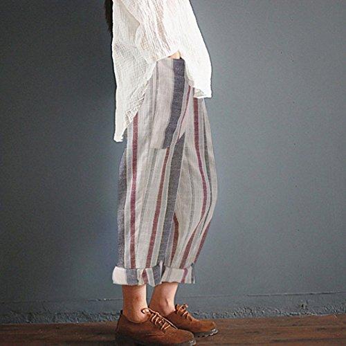 Donna Larghe Cotone da Lungo Vintage Bianco Alta Vita Pantalone a in CICIYONER Righe watPpxXqn