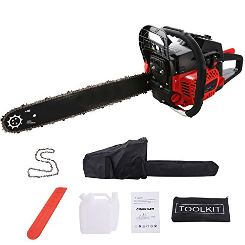 Benlet 52CC 20inch 4HP Petrol Powered Chainsaw, 2 Strokes Single Cylinder Handed Oil Chain Saw Blade Kits w/Automatic Oiling and Tool Kit (Red)