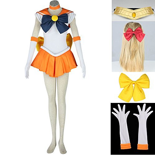 OURCOSPLAY Women's Sailor Moon Minako Aino Venus Cosplay Costume Outfit Uniform Dress Suit Female (Women US M/CN XL)