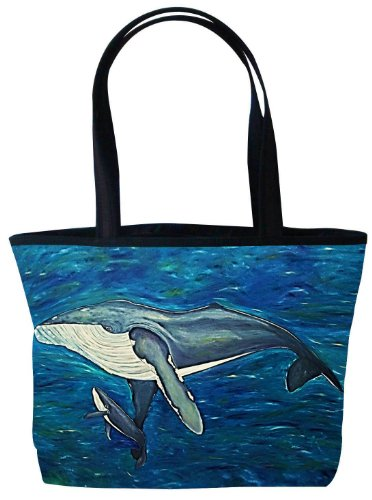 - Whale Shoulder Bag, Vegan Tote Bag - Animal Prints - From My Original Paintings - Support Wildlife Conservation, Read How (Whale - Elusive Intoner)