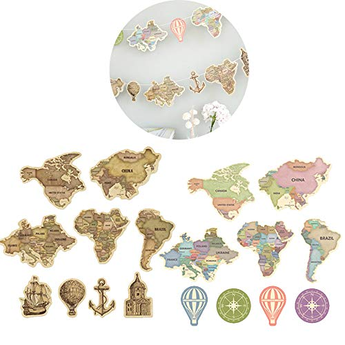 Retro World Map Banner Paper Card Bunting Garland Flag Sign for Travel Themed Party Adventure Party Graduation Party Home Family Party Decorations 2sets(9pcs/Set) (Retro & - Map Banner