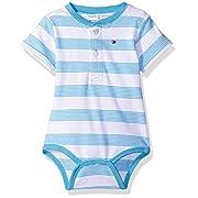 Tommy Hilfiger Baby Boys' Short Sleeve Striped Walli Bodysuit, ZEN Blue, 3 Months