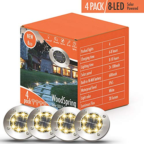 Solar Lights Outdoor | Pathway Disk Lights | 4 Pack 8-LED Solar Powered Waterproof Exterior for Patio Deck Yard Garden Path Pool Home Driveway Stairs Step (Warm White-Upgraded)