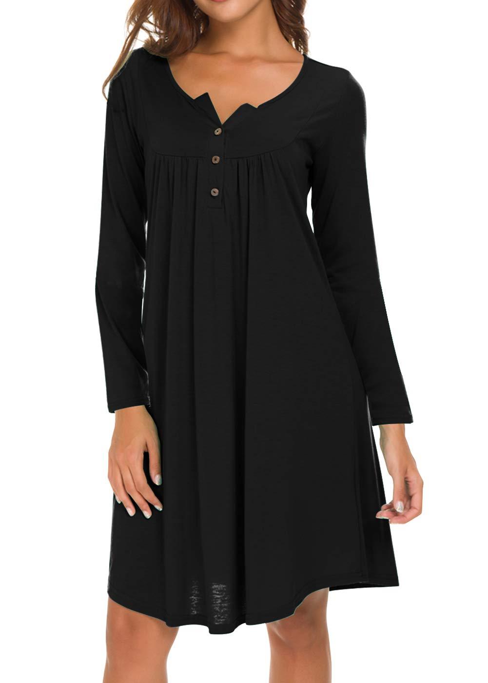 Eanklosco Damen Kleid mit V-Ausschnitt Lässige Schaukel Einfache Rüsche mit Knopf Lose Kleider Lange Ärmel (S, Schwarz)