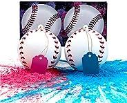 Gender Reveal Baseball Set - 2 Baseballs (1 Blue Ball, 1 Pink Ball) Exploding with Powder - Best Idea for Boy