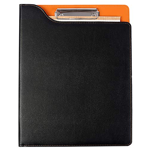 DAPTSY Business Padfolio Resume Portfolio Folder with Letter-Sized Writing Pad Storage Clipboard PU Leather Waterproof for Travel Business Interview Conference - Black & Orange ()