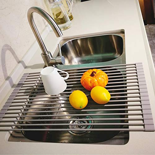 LEASEN Over the Sink Silicone Roll-up Dish Drying Rack Kitchen Drainer Rack (Large 20.5″L x 13.5″W, Round Rob)(Warm Gray)