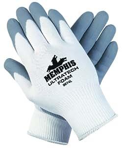 Ultra Tech Foam Seamless Nylon Knit Gloves, Small, White/Gray, Sold as 1 Pair