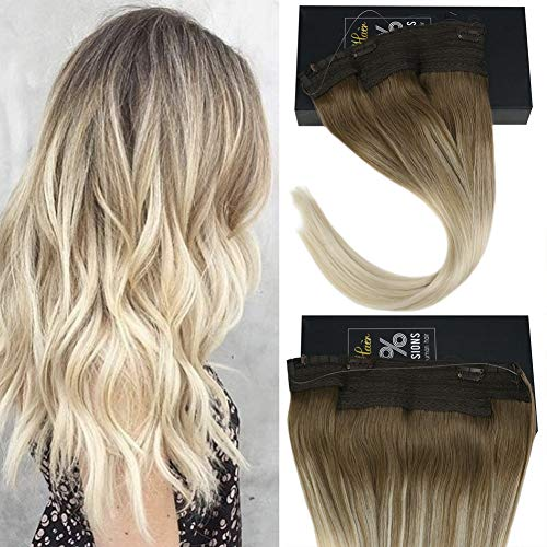 Sunny 20inch Blonde Balayage Halo Hair Extensions with Hidden Fish Wire Blonde Halo Extensions Real Human Hair 100g/Pack
