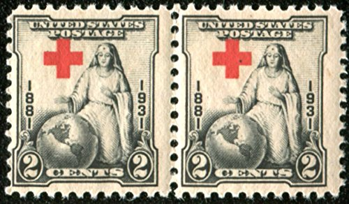 Attached Pair 2 Cents Black & Red, The Greatest Mother, Red Cross Issue Stamp Dated 1931 Postage Stamps United States Scott #702
