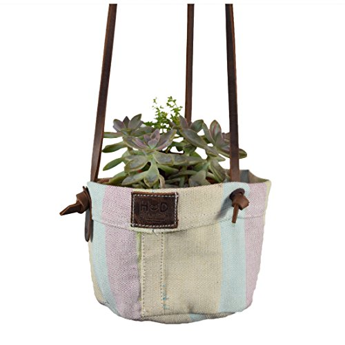 UPC 660042715562, Artisan Canvas Hanging Planter Basket for Home / Studio / Office Decor, Indoor Outdoor Decorations Plant Holder Handmade by Hide & Drink :: Pistachio Cream