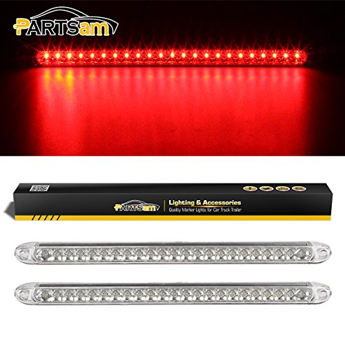 Partsam Waterproof 17 Inch Clear Lens Red 23 LED Trailer Truck RV Stop Turn Tail Rear Third 3rd Brake Identification Light Bar Sealed 12V (Pack of 2)