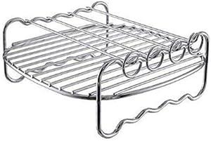DragonPad Air Fryer Rack Multi-Purpose Double Layer Stainless Steel Rack with 4 Skewers Silver