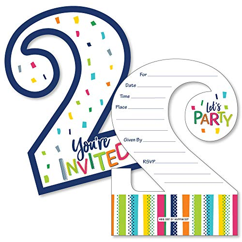 2nd Birthday - Cheerful Happy Birthday - Shaped Fill-In Invitations - Colorful Second Birthday Party Invitation Cards with Envelopes - Set of 12