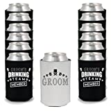Shop4Ever Groom and Groom's Drinking Team 'Member' Can Coolie Wedding Drink Coolers Coolies Black - 12 Pack