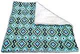 Sherpa Cat Blanket with Catnip - 17'' x 17'' - Geometric Blue Green