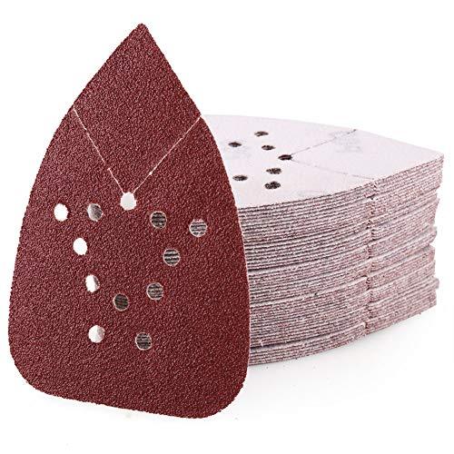 60 Grit Sanding Pads for Black and Decker Mouse Sanders, 12 Holes Hook and Loop Mouse Sandpaper - LotFancy Detail Palm Sander Sanding Sheets, Pack of - Small Pad Black