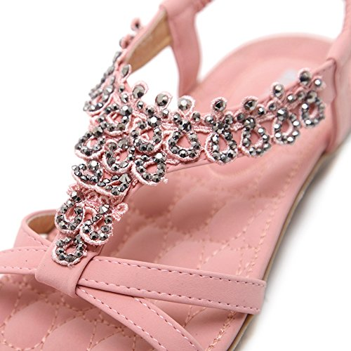 Shoes Pink 04 T Strap Women Meeshine Beach Dress Gladiator Sandals Beaded Flat Flower vPC7xq7Rw