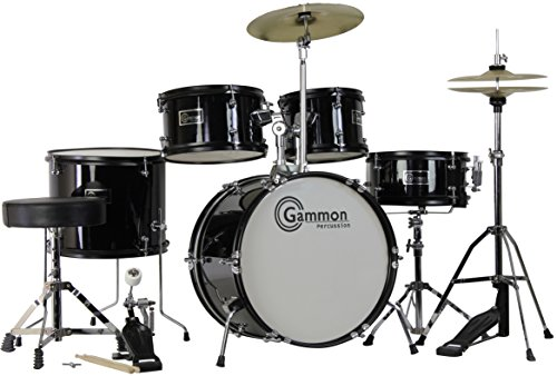 Complete-5-Piece-Black-Junior-Drum-Set-with-Cymbals-Stands-Sticks-Hardware-Stool