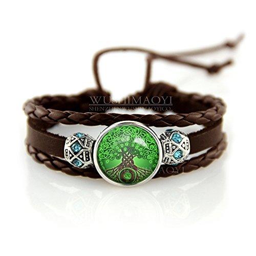 WUSHIMAOYI Celtic Tree Of Life Bracelet Celtic Tree Of Life jewelry TREE Bracelets Celtic Bracelet Braid Leather Bracelets Dark Brown Leather Bracelet Gifts ()