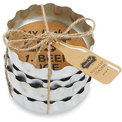 Mud Pie Beer Bottle Coasters (Set of 4), Silver
