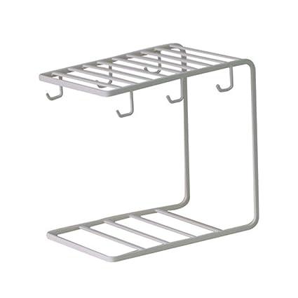 Portavasos Sostenedor de Taza hogar con Bandeja de Cocina Estante de Vidrio de Agua de Hierro