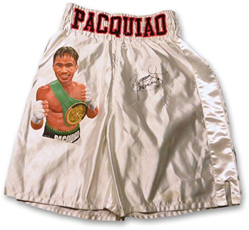 Manny Pacquiao Signed Autographed Custom Painted Boxing Trunks Silver JSA F06874 Autographed Custom Boxing Trunks