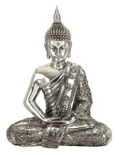 Deco 79 Poly-Stone Sitting Buddha, 12 by 9-Inch