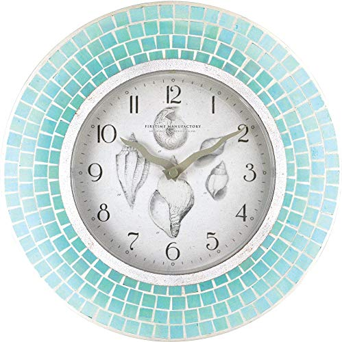 FirsTime 00167 Blue Mosaic Wall Clock Aqua ()