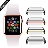 Apple Watch 38mm Tempered Glass SCREEN PROTECTOR CASE,2win2buy Ultra Thin 9H Hardness [Full Coverage] Electroplate Screen Protector with Metal Bumper ROSEGOLD