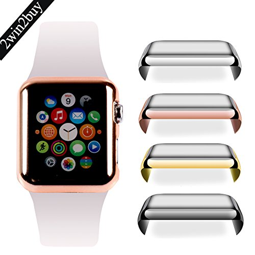 Apple Watch 42mm Tempered Glass SCREEN PROTECTOR CASE,2win2buy Ultra Thin 9H Hardness [Full Coverage] Electroplate Screen Protector with Metal Bumper ROSEGOLD Photo #1