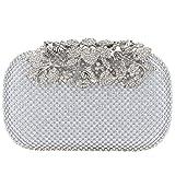Fawziya Flower Purses With Rhinestones Crystal Evening Clutch Bags-Silver